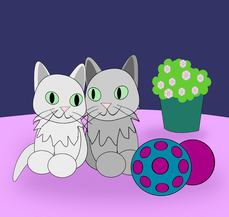 Two funny cats some balls and a flowerpot  photo