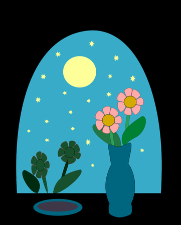 Night sky with moon and stars as seen from a window with a vase of flowers  photo