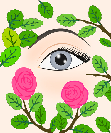 An eye peeking out through a rose bush  photo