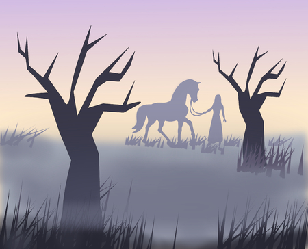 A girl standing with a horse in the sunset
