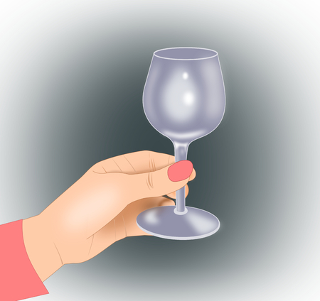 intoxicating: A hand holding an empty wine glass. Stock Photo