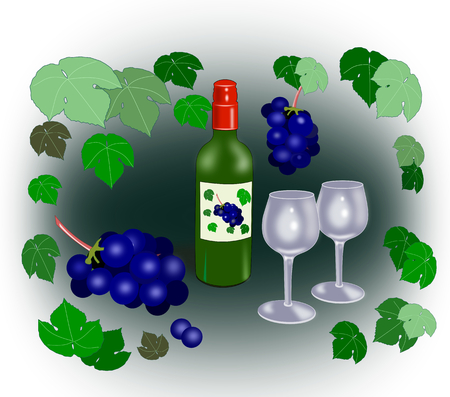 intoxicating: A wine bottle and two glasses surrounded by grapes and grape leaves.