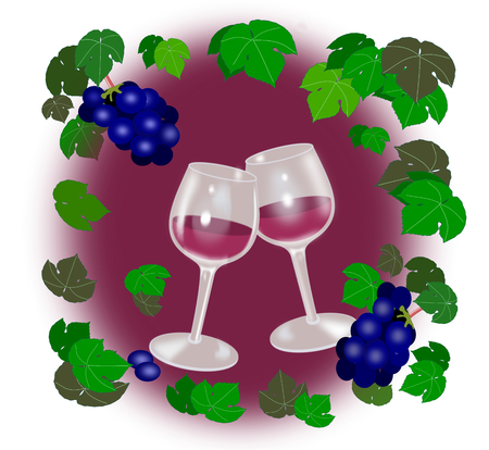 intoxicating: Two wine glasses surrounded by grapes and grape leaves.