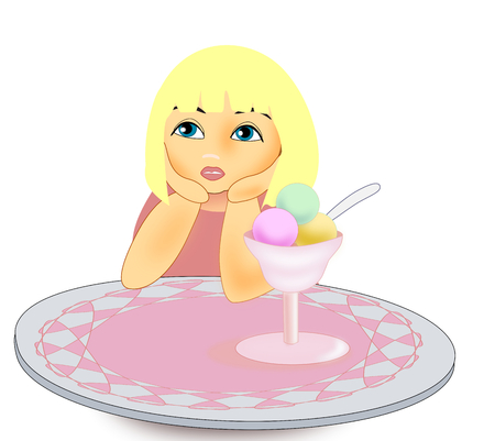 A little blonde girl with an ice cream Stock Photo