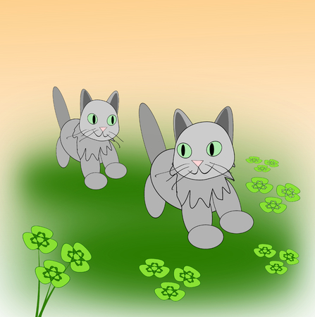 Two little cats playing on a clover meadow.