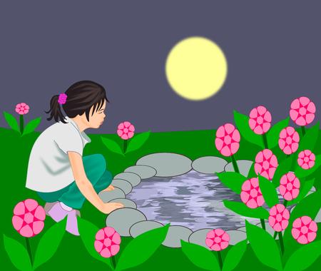 garden pond: A little girl sitting by a pond in a flower garden.