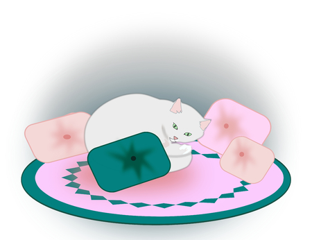 cushions: A white cat curls up between the cushions.