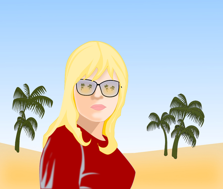 sunglasses reflection: A blond girl with sunglasses with the reflection of nature.