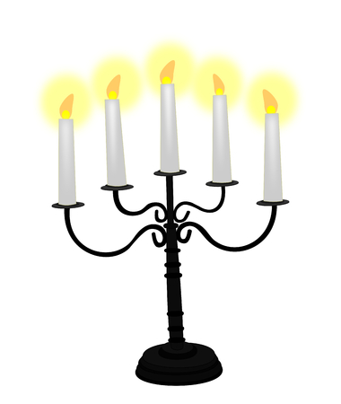 candelabra: Black candelabra with white candles over a white background.