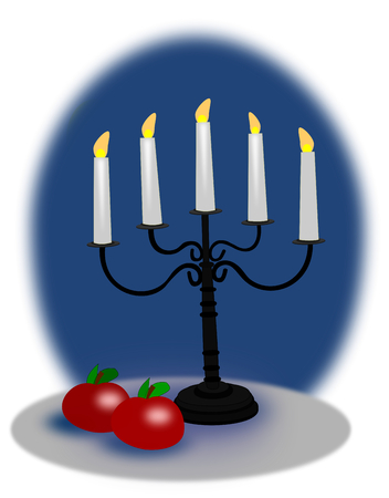 Black candelabra with white candles and  two red apples over a blue background. photo