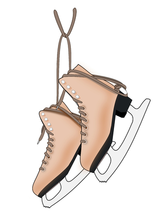 ice skates: Illustration of a a pair of brown ice skates on a white background.