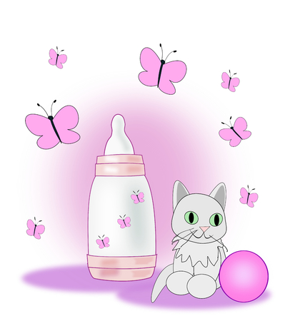 pussycat: A baby bottle, a ball and a little pussycat surrounded by pink butterflies.