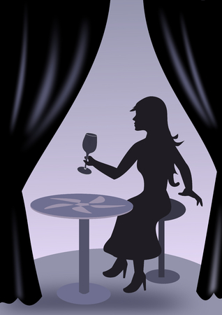 intoxicating: A girl sitting at a round table and holding a wine glass in her hand.