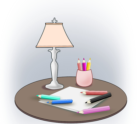 pink lamp: Several color pencils, some sheets and a pink lamp. Stock Photo