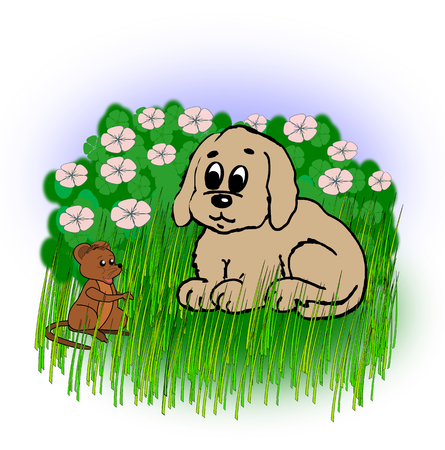 hedge: A small dog that looks at a little mouse in  the grass in front of a hedge in flowering. Stock Photo