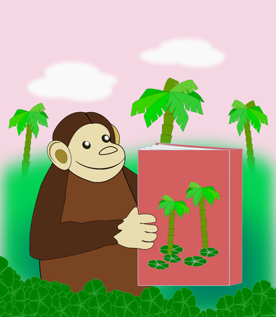 palm reading: A funny monkey reading a book in the jungle. Stock Photo