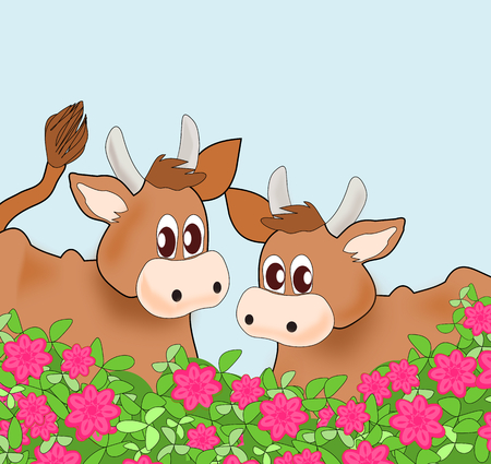 Two cows standing together behind a rose hedge. photo