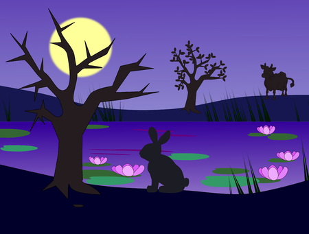 A hare and a cow by a pond in the moonlight photo