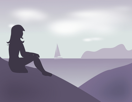A girl sitting and looking at the sea. photo