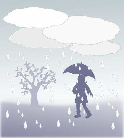 A girl with umbrella walking in the rain. photo