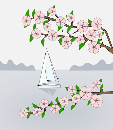 simplified: Flowering branches against a calm sea where a boat is sailing. Stock Photo