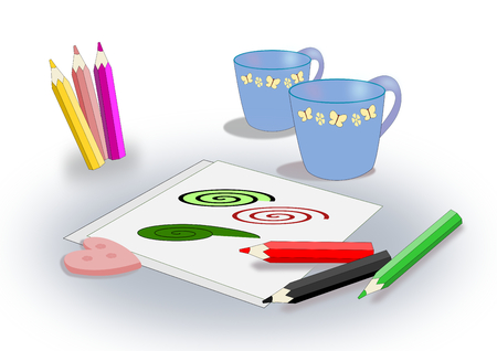 butterfly stationary: Two cups, some sheets and some colored pencils. Stock Photo
