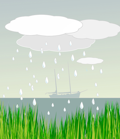 rains: A sailboat is out at sea, it rains and there is green grass in the foreground.