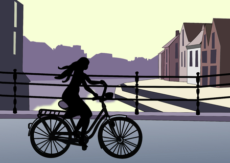 ghost town: A girl bicycles on a bridge in the sunset. Stock Photo