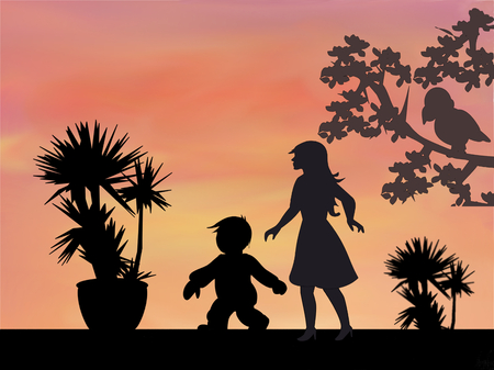 morning walk: A woman and a kid who walk at sunset. Stock Photo