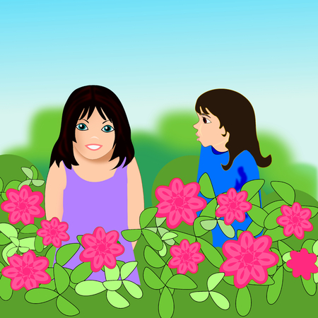 Two little girls are looking over a flower hedge. photo