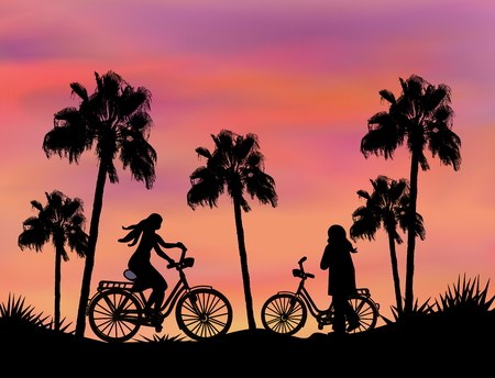 tall: Tall palm trees and bikers at sunset.