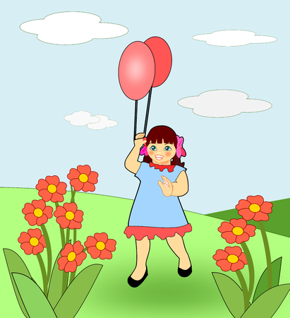 A happy little girl playing with two balloons in a field of flowers. Stock Photo