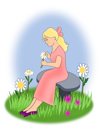 bench alone: A young girl sitting on a bench with a daisy her hand.