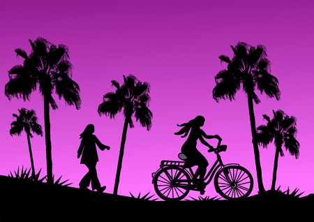 tall trees: Tall palm trees, a girl on a bike and another who is walking in the sunset. Stock Photo