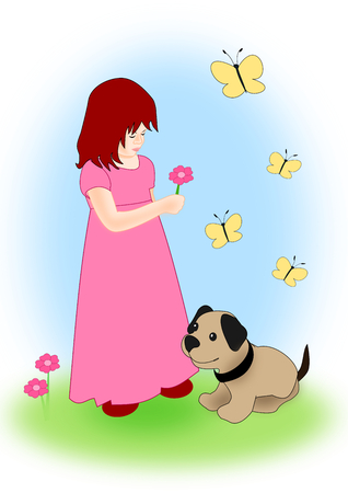 mariposas amarillas: Una ni�a recogiendo flores en un prado, un peque�o perro y algunas mariposas amarillas. Foto de archivo