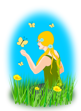 mariposas amarillas: Una niña sentada en un campo de flores con mariposas amarillas Foto de archivo