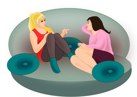 cartoon women: Two young girls sitting together and talking in a sofa.
