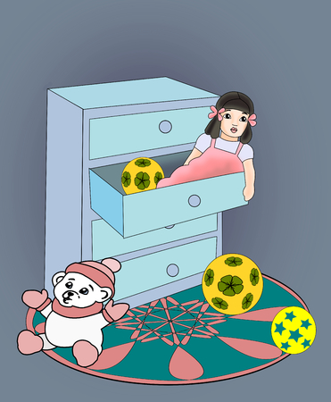 commode: A commode with a doll lying in a drawer and a teddy bear sitting next to.