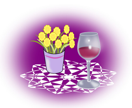 intoxicating: A  wineglass standing on a round tablecloth besides a vase of yellow flowers.