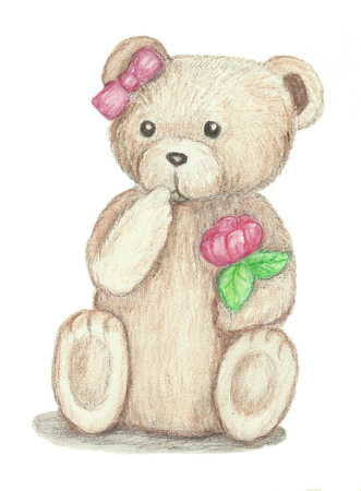 puzzled: A cute little teddy bear holding a rose and looking puzzled. Stock Photo