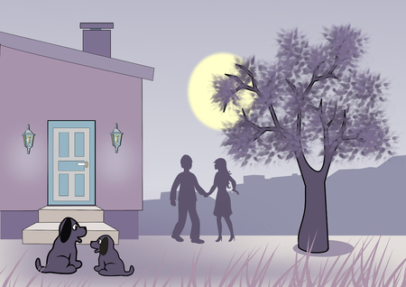 sweethearts: Moonlit night where two puppies are sitting together in front of a house, and a couple are standing and talking together by a tree. Stock Photo