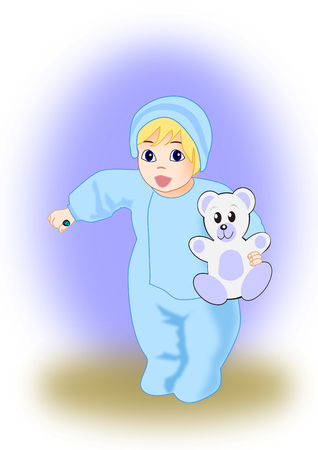 boiler suit: A little toddler holding a teddy bear. Stock Photo