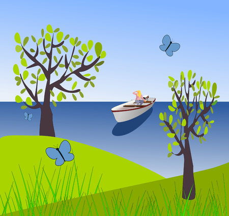 overlooking: Overlooking the sea where there sits a girl in a small boat, and some trees and butterflies in the foreground.
