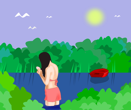 cute girl with long hair: A girl bathing in a lake in a forest, and there is moored a little red boat. Stock Photo
