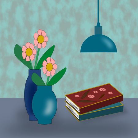 pink lamp: Two blue vases with pink flowers, a blue lamp, and two books.