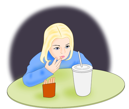 frites: A little girl sitting and eating French fries, and drinking soda Stock Photo