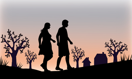 sweethearts: A couple walking in the sunset, and some houses and trees in the background.
