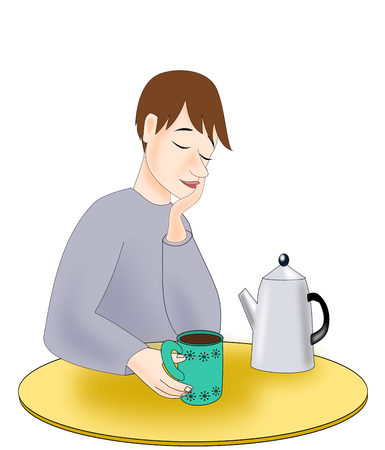person thinking: A young man sitting with a cup of coffee, and looking sleepy. Stock Photo