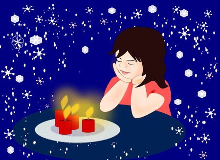 little girl sitting: A little girl sitting and looking at four candles.