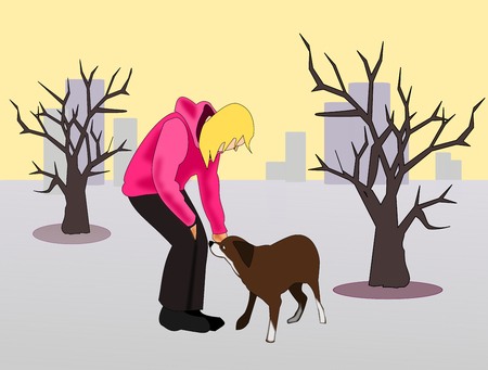 tall buildings: A girl patting a dog, and some trees and tall buildings.